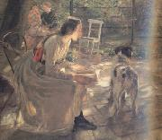 Fritz von Uhde The Artist's Daughters in the Garden (nn02) oil painting artist