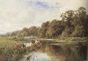 Henry h.parker Cattle watering on a Riverbank (mk37) oil painting artist