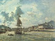 Johan Barthold Jongkind Entrance to the Port of Honfleur (Windy Day) (nn02) oil painting picture wholesale