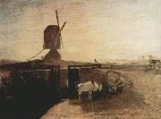 Joseph Mallord William Turner Grand Junction Canal at Southall Mill Windmill and Lock (mk31) Spain oil painting artist