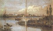 Joseph Mallord William Turner River scene with boats (mk31) oil painting picture wholesale