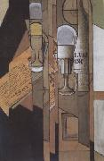 Juan Gris Glasses Newspaper and a Bottle of Wine (nn03) oil painting picture wholesale
