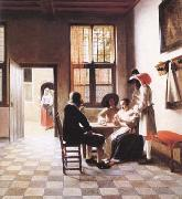 Pieter de Hooch Cardplayers in a Sunlit Room (mk25 oil painting picture wholesale