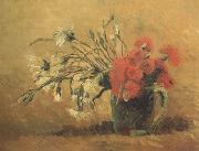 Vincent Van Gogh Vase with Red and White Carnations on Yellow Background (nn04) oil painting picture wholesale