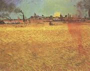 Vincent Van Gogh Sunset:Wheat Fields near Arles (nn04) oil painting picture wholesale