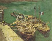 Vincent Van Gogh Quay with Men Unloading Sand Barges (nn04) oil painting picture wholesale