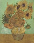 Vincent Van Gogh Still life:Vast with Twelve Sunflowers (nn04) oil painting picture wholesale