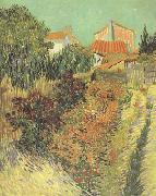 Vincent Van Gogh Garden Behind a House (nn04) oil painting picture wholesale