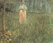 Vincent Van Gogh A Woman Walking in a Garden (nn04) oil painting picture wholesale
