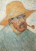 Vincent Van Gogh Self-Portrait with Pipe and Straw Hat (nn04) oil painting picture wholesale