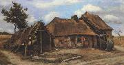 Vincent Van Gogh Cottage with Decrepit Barn and Stooping Woman (nn04) oil painting picture wholesale