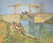 Vincent Van Gogh The Langlois Bridge at Arles with Women Washing (nn04) oil painting picture wholesale