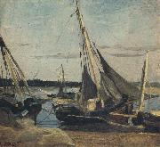 camille corot Trouville Fishing Boats Stranded in the Channel (mk40) oil painting artist