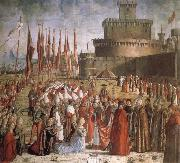 CARPACCIO, Vittore Scenes from the Life of St Ursula:The Pilgrims are met by Pope Cyriacus in front of the Walls of Rome oil painting picture wholesale