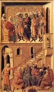 Duccio di Buoninsegna Peter's First Denial of Christ and Christ Before the High Priest Annas oil painting picture wholesale