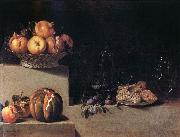 HAMEN, Juan van der Still life wtih Fruit and Glassware oil painting artist