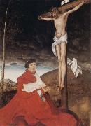 Hans holbein the younger Cardinal Albrecht of Branden-burg before the Crucifiel Christ oil painting picture wholesale