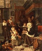 Jan Steen The Feast of St. Nicholas oil painting picture wholesale