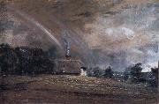 John Constable Landscape study,cottage and rainbow oil painting picture wholesale