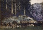 William Blamire Young When the hore team came to Walhalla oil painting artist