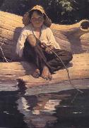 Worth Brehm Forntispiece illustration for The Adventures of Huckleberry Finn by mark Twain oil painting picture wholesale
