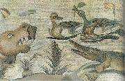 unknow artist Nilotic mosaic with hippopotamus,crocodile and ducks oil painting picture wholesale