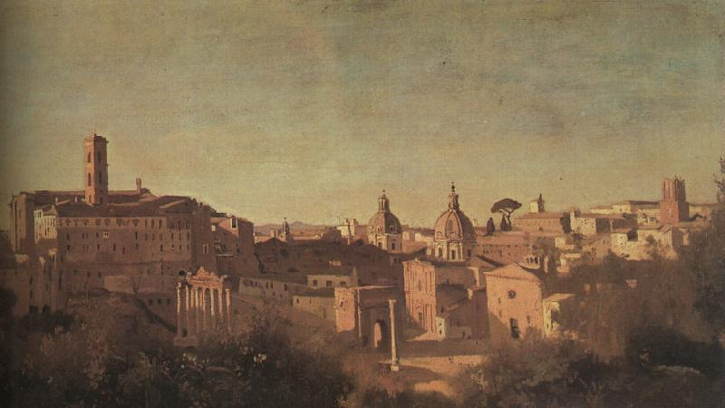 Jean Baptiste Camille  Corot The Forum seen from the Farnese Gardens oil painting image