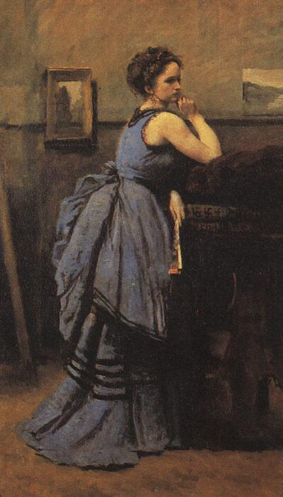 Jean Baptiste Camille  Corot Woman in Blue oil painting image