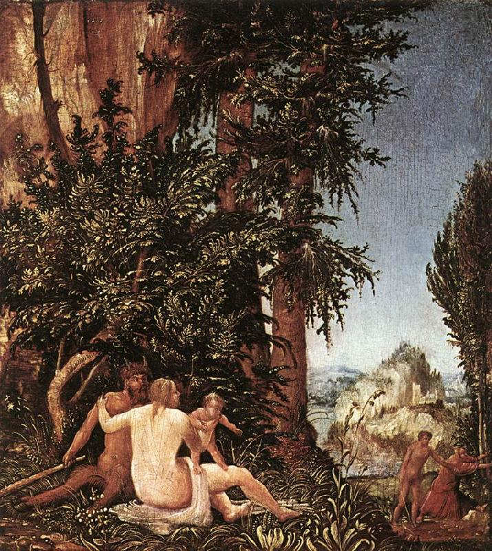 ALTDORFER, Albrecht Landscape with Satyr Family oil painting image