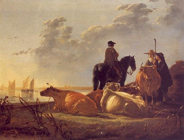 Aelbert Cuyp Cattle with Horseman and Peasants oil painting picture