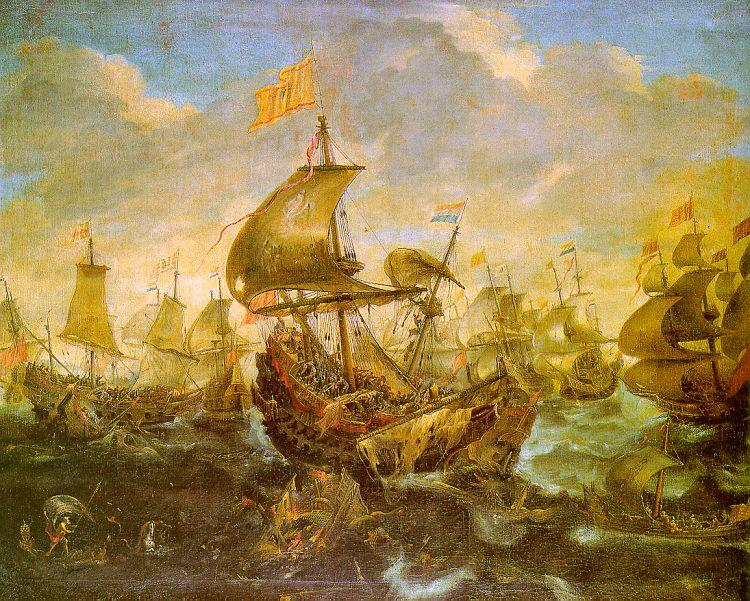 Andries van Eertvelt The Battle of the Spanish Fleet with Dutch Ships in May 1573 During the Siege of Haarlem oil painting image