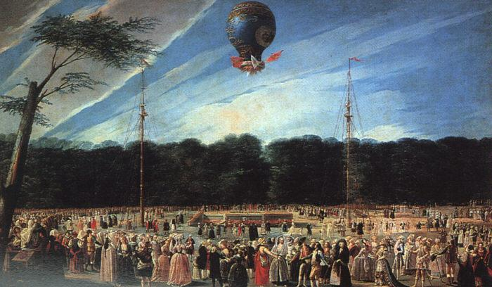 Antonio  Carnicero Balloon Ascent at Aranjuez oil painting image