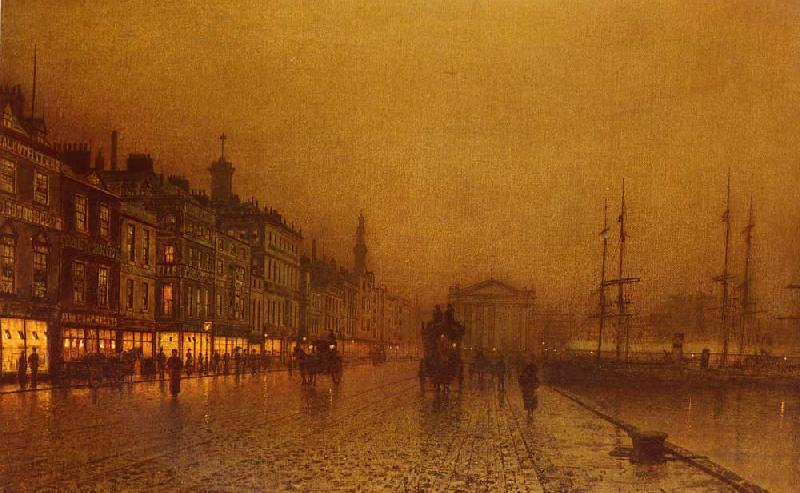 Atkinson Grimshaw Greenock Dock oil painting image