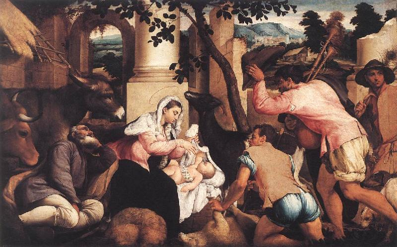 BASSANO, Jacopo Adoration of the Shepherds ss oil painting image