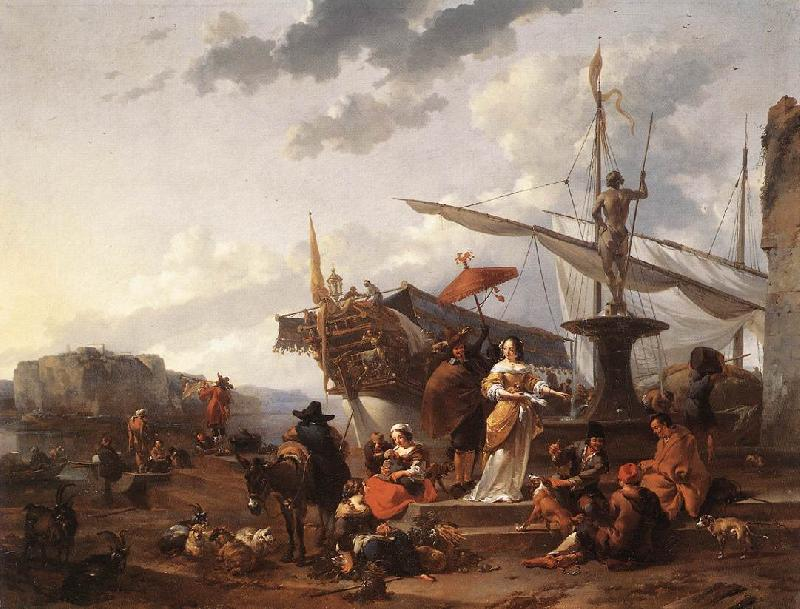 BERCHEM, Nicolaes A Southern Harbour Scene oil painting image