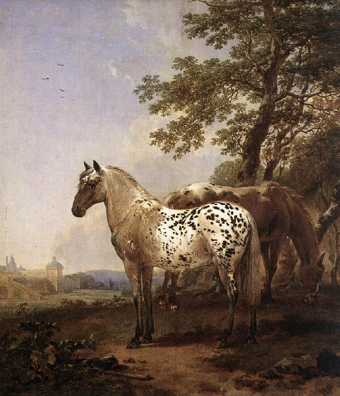 BERCHEM, Nicolaes Landscape with Two Horses oil painting image