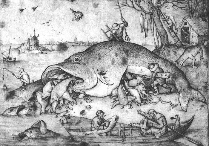 BRUEGEL, Pieter the Elder Big Fishes Eat Little Fishes g oil painting image