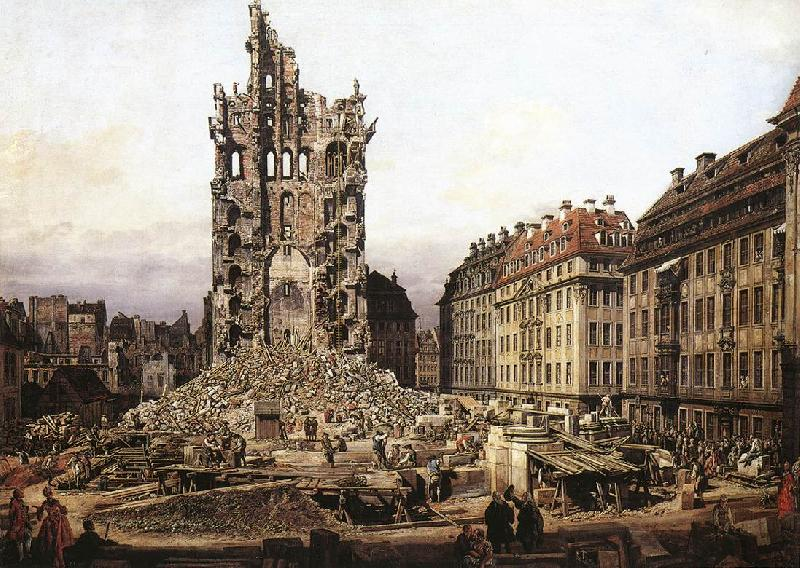 Bernardo Bellotto The Ruins of the Old Kreuzkirche in Dresden oil painting image
