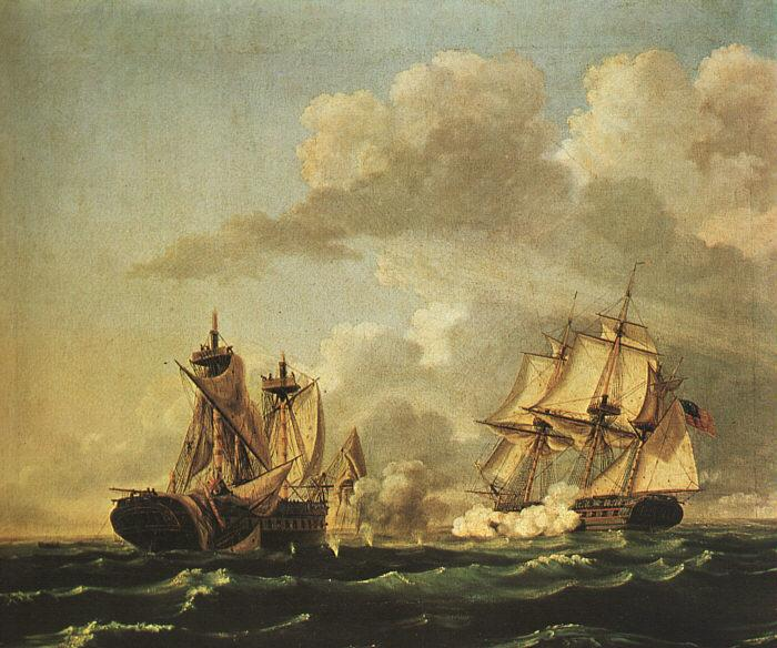 Birch, Thomas Naval Battle Between the United States and the Macedonian on Oct. 30, 1812, oil painting image