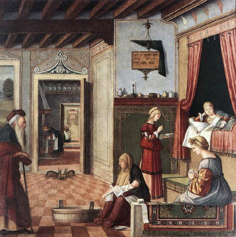 CARPACCIO, Vittore Birth of the Virgin fg oil painting image