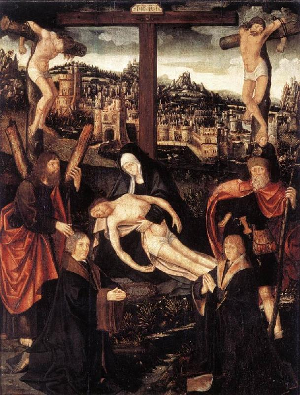 CORNELISZ VAN OOSTSANEN, Jacob Crucifixion with Donors and Saints fdg oil painting image