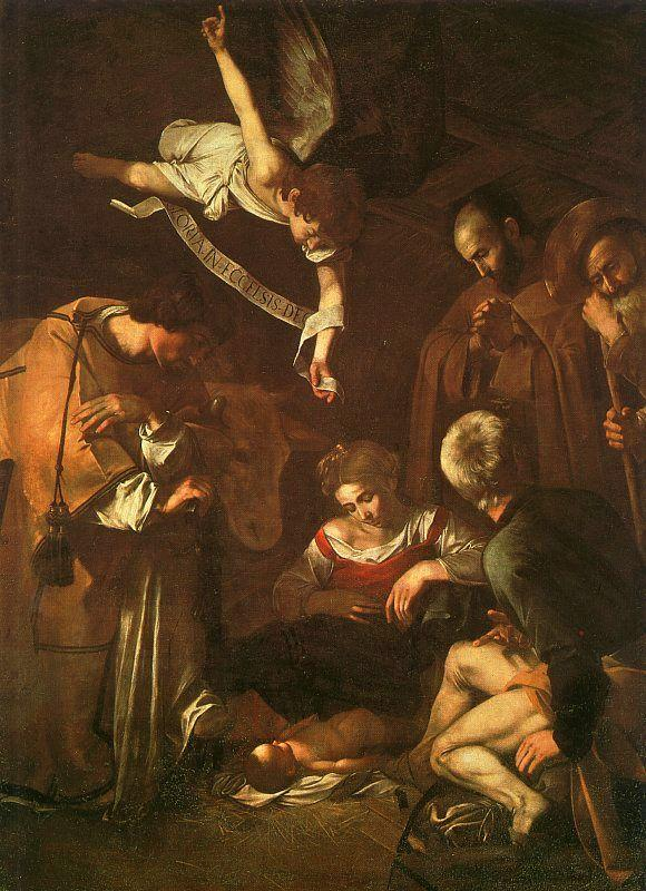 Caravaggio The Nativity with Saints Francis and Lawrence oil painting image