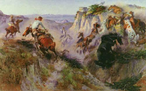 Charles M Russell The Wild Horse Hunters oil painting image