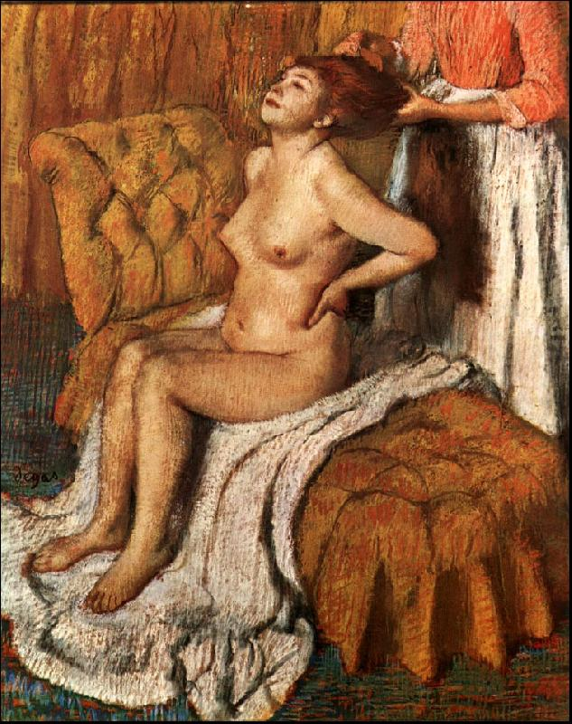 Edgar Degas A Woman Having her Hair Combed oil painting image