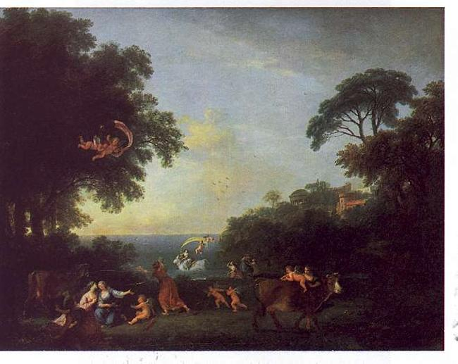 Francesco Zuccarelli Landscape with the Rape of Europa oil painting image