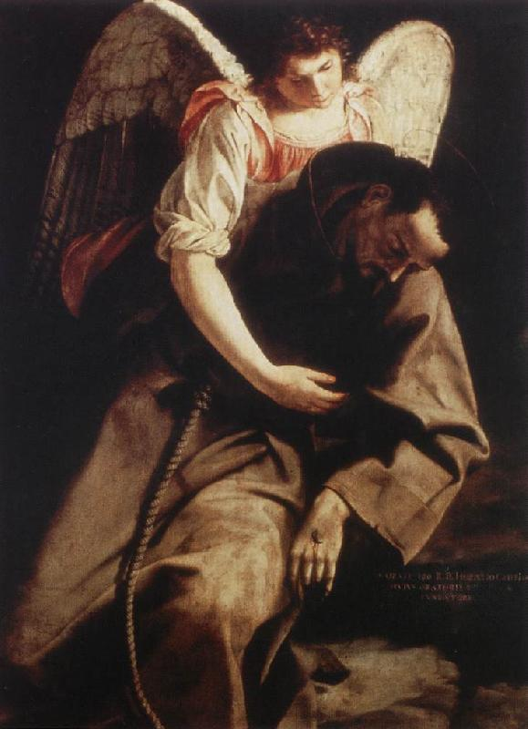 GENTILESCHI, Orazio St Francis and the Angel fdg oil painting image