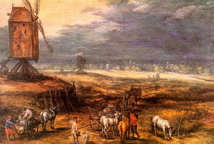 Jan Brueghel Landscape with Windmills oil painting image