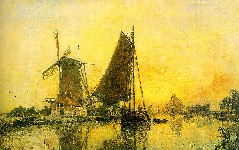 Johann Barthold Jongkind In Holland ; Boats near the Mill oil painting image