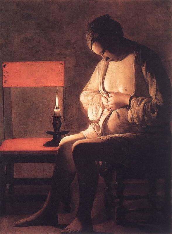 Magdalen with the Smoking Flame - Georges de La Tour - Hand