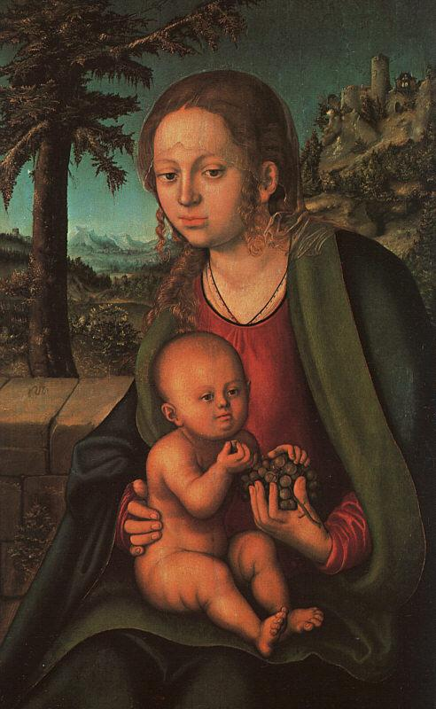 Lucas  Cranach The Madonna with the Bunch of Grapes oil painting image